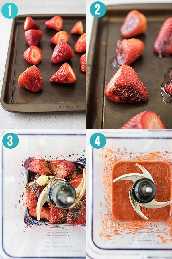 collage image showing how to make roasted strawberry vinaigrette