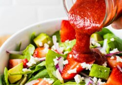 Strawberry Spinach Salad with Roasted Strawberry Vinaigrette