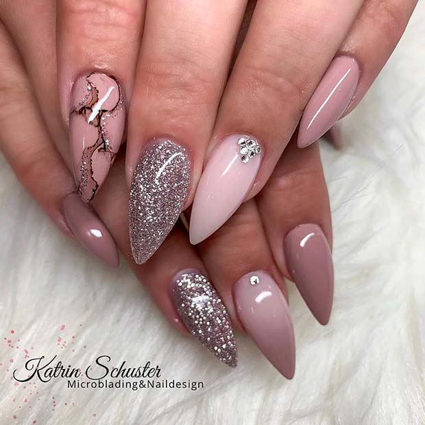 Glitzy Nails with Marble Art