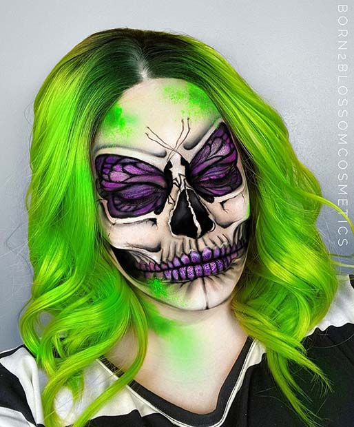 Halloween Skull Makeup with Butterfly Design