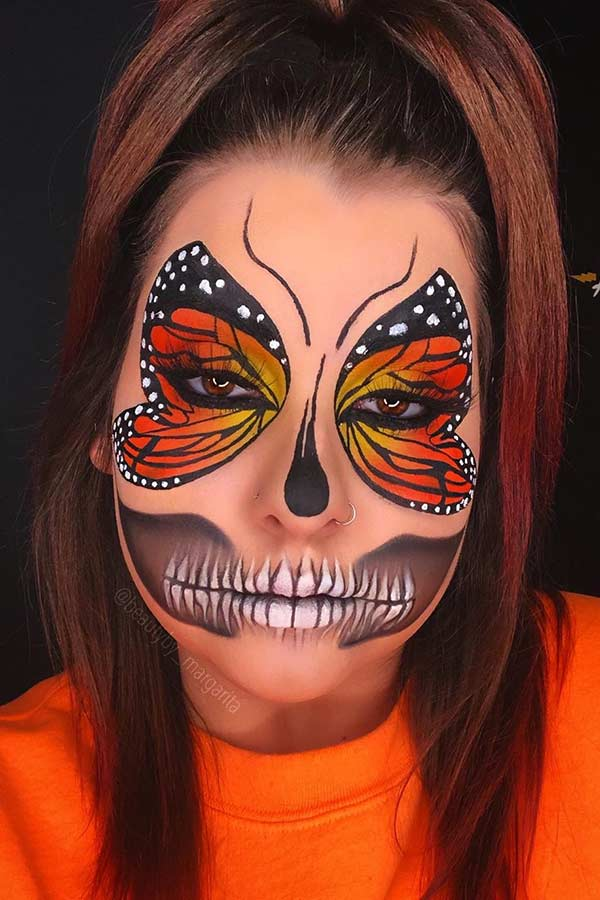 Butterfly Wings with a Skeleton Mouth