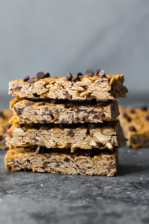 a stack of four of peanut butter granola bars