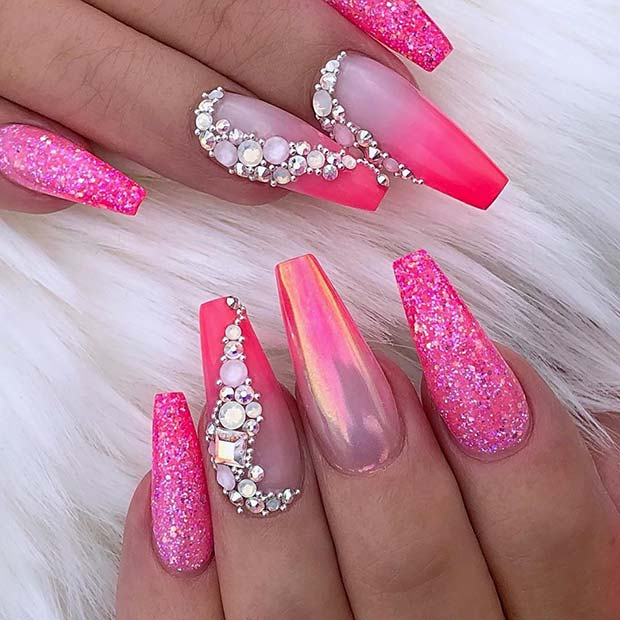 Chrome Ombre Nails With Glitter and Rhinestones