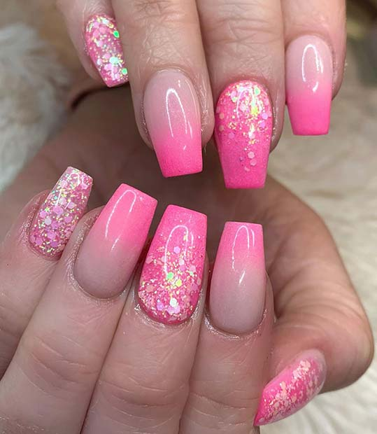 Pink Ombre For Short Nails