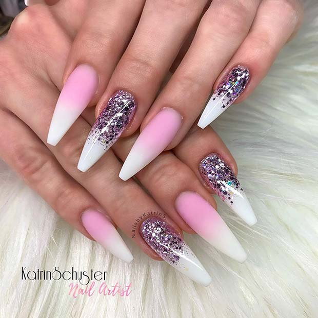Pink and White Ombre With Glitter