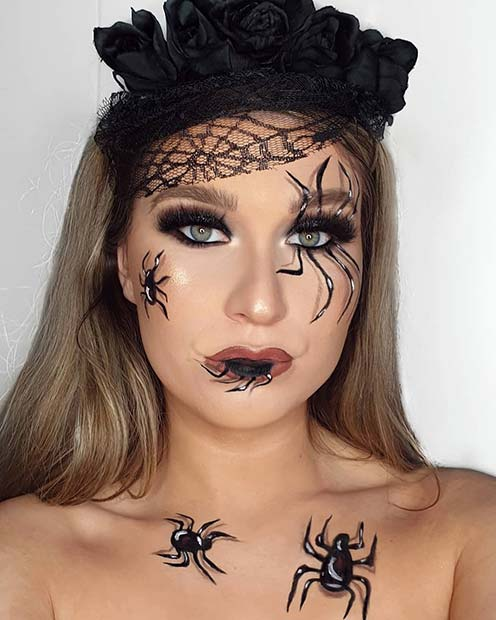 Beautiful Makeup with Spiders