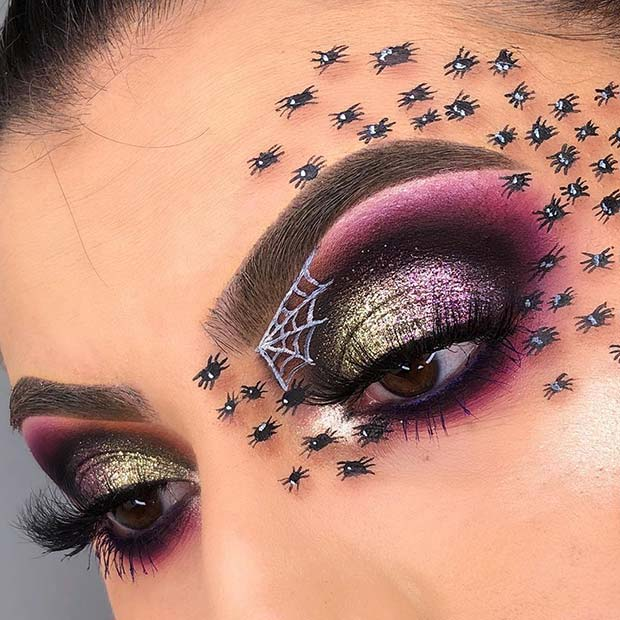 Glam Eye Makeup with Tiny Spiders
