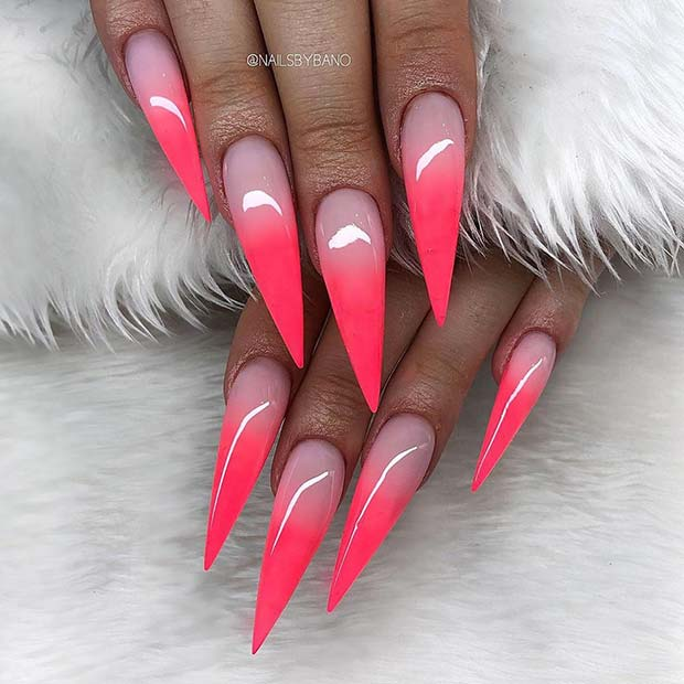 Bold Pink Ombre Stiletto Nails