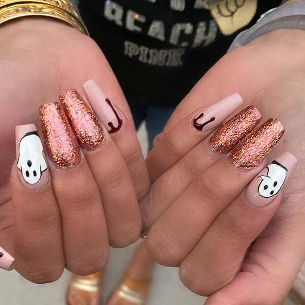 Halloween Coffin Nails with Ghosts