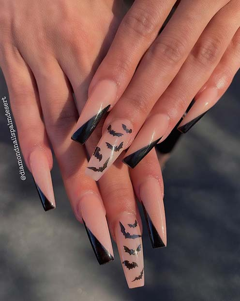 Trendy Bat Coffin Nails for Halloween