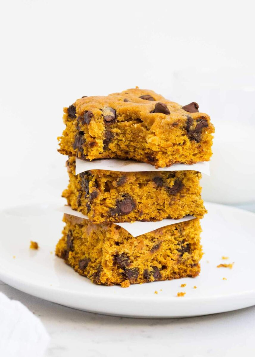 stack of pumpkin blondies on white plate