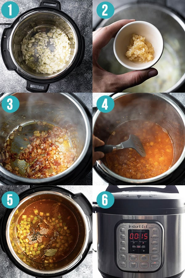 collage image showing how to cook lentil soup in the instant pot