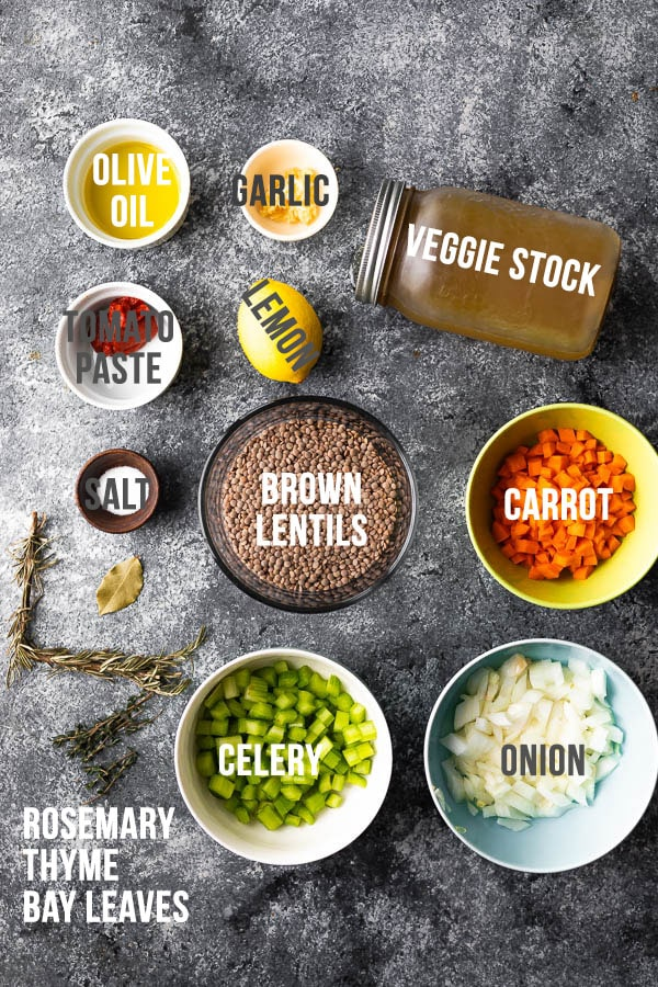 overhead view of ingredients required to make lentil soup