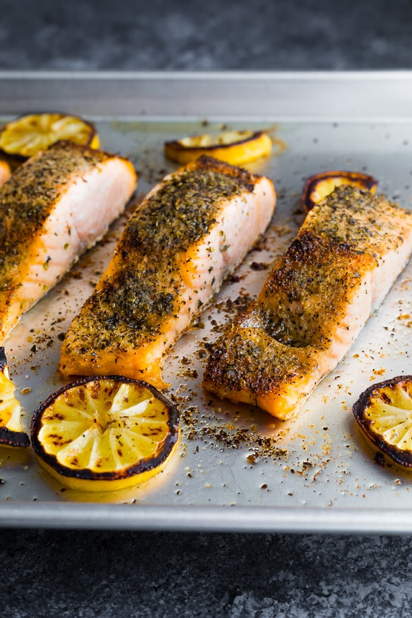 broiled salmon fillets on baking sheet after cooking