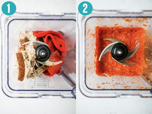 before and after romesco sauce in blender