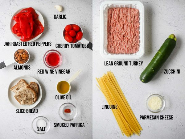 ingredients required to make romesco sauce and ground turkey pasta