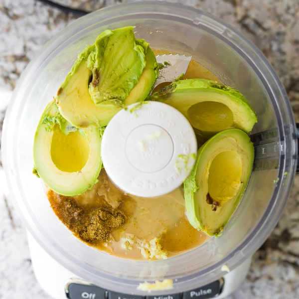 ingredients for Creamy Avocado Hummus in food processor (before processing)
