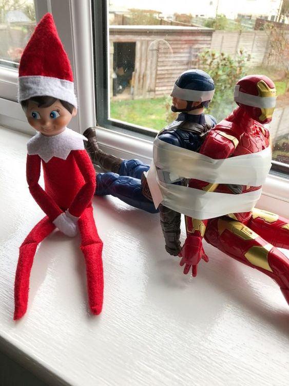 Funny elf on the shelf ideas - elf kidnapping toys