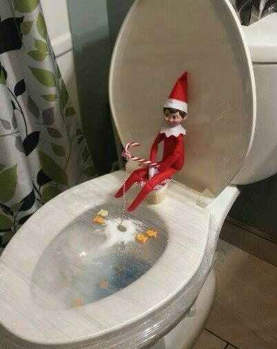 Funny elf on the shelf ideas on the toilet