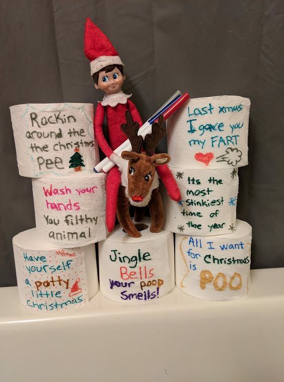 Naughty elf on the shelf ideas with toilet paper