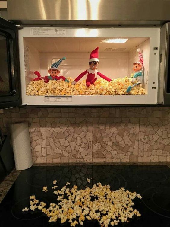 Elf on the shelf in microwave