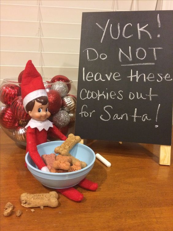 Funny elf on the shelf ideas with food