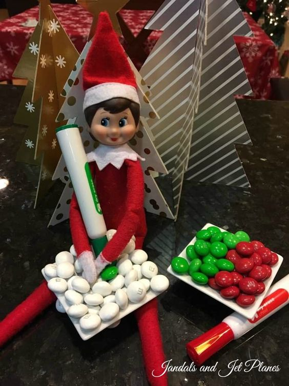 Cute elf on the shelf ideas with candy