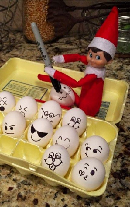 Cute elf on the shelf ideas with eggs