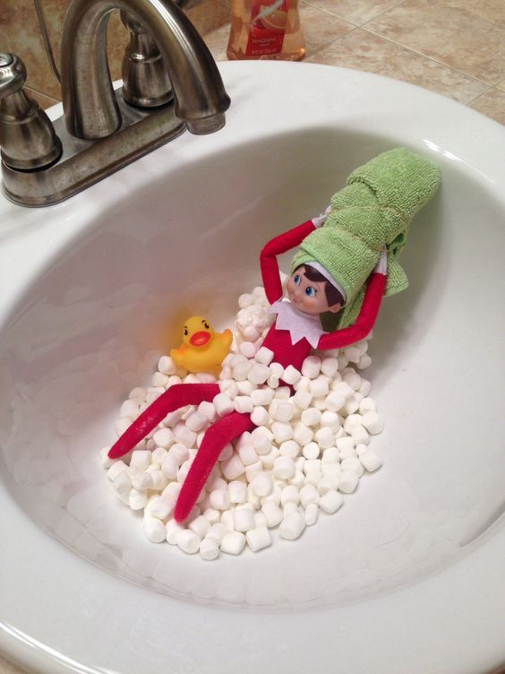 Cute elf on the shelf bathroom pictures