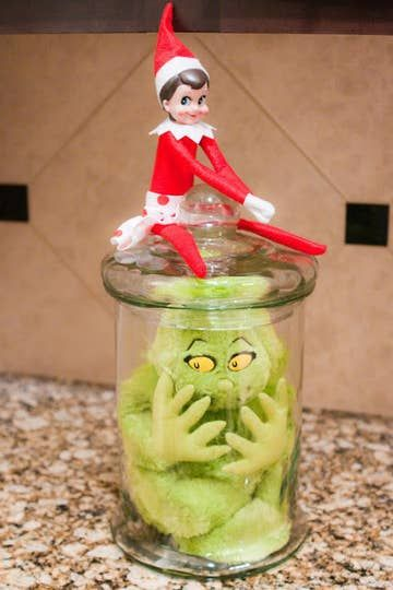 Easy Elf on the shelf Grinch ideas