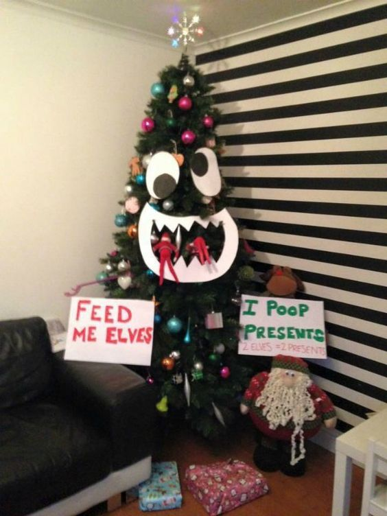 Naughty elf on the shelf ideas with Christmas tree
