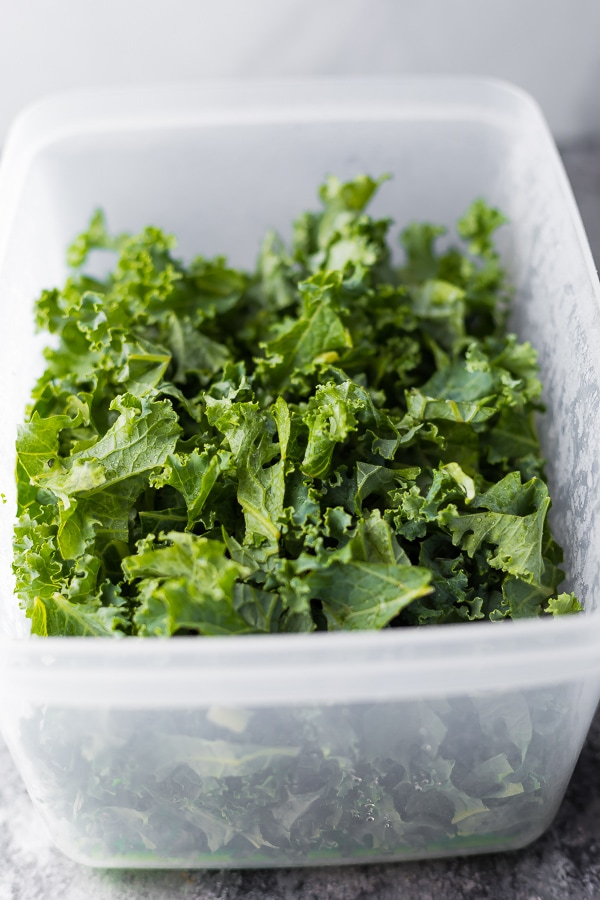 kale in produce saver prepped and ready for the massaged kale salad recipe