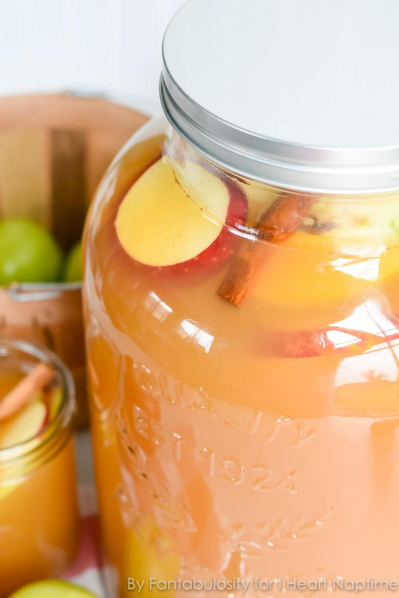 thanksgiving punch with apples and cinnamon garnish