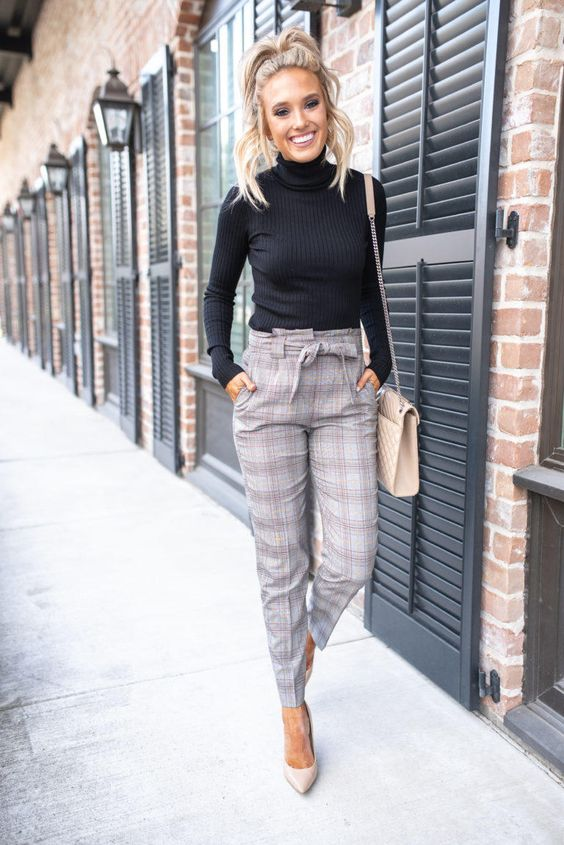 Plaid pants outfits - business casual work outfits