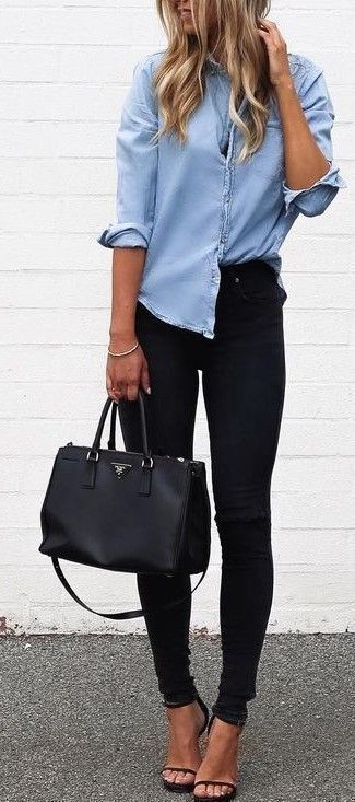 Cutebusiness casual outfits for women, work outfits for women with black jeans and denim shirt