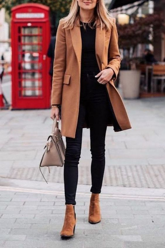 Casual winter looks with tan coat