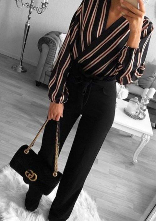 Chic business casual outfits for women, work outfits for women with striped shirt and Gucci bag
