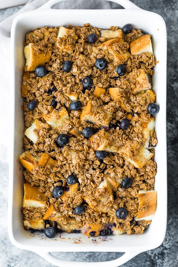Blueberry Overnight French Toast Bake in a casserole dish