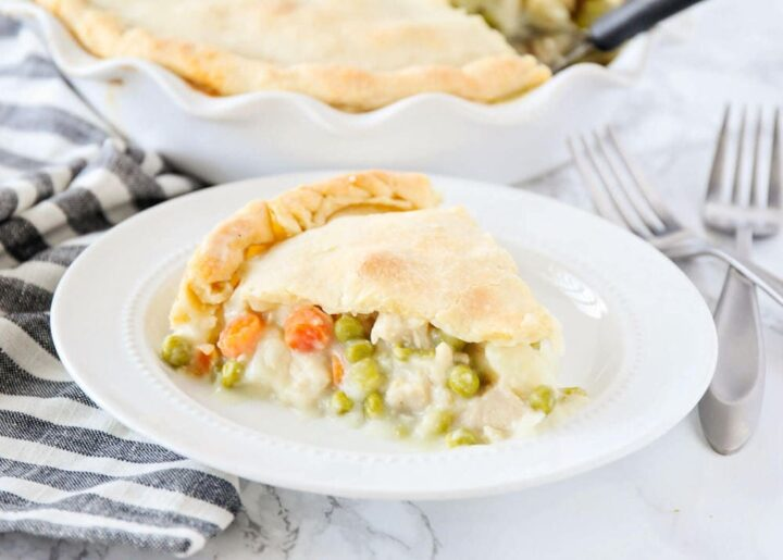 piece of homemade chicken pot pie on a white plate