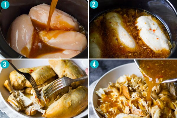 collage image showing how to cook slow cooker sweet chili chicken