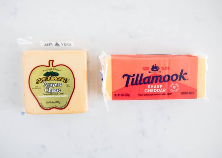 blocks of cheese on counter
