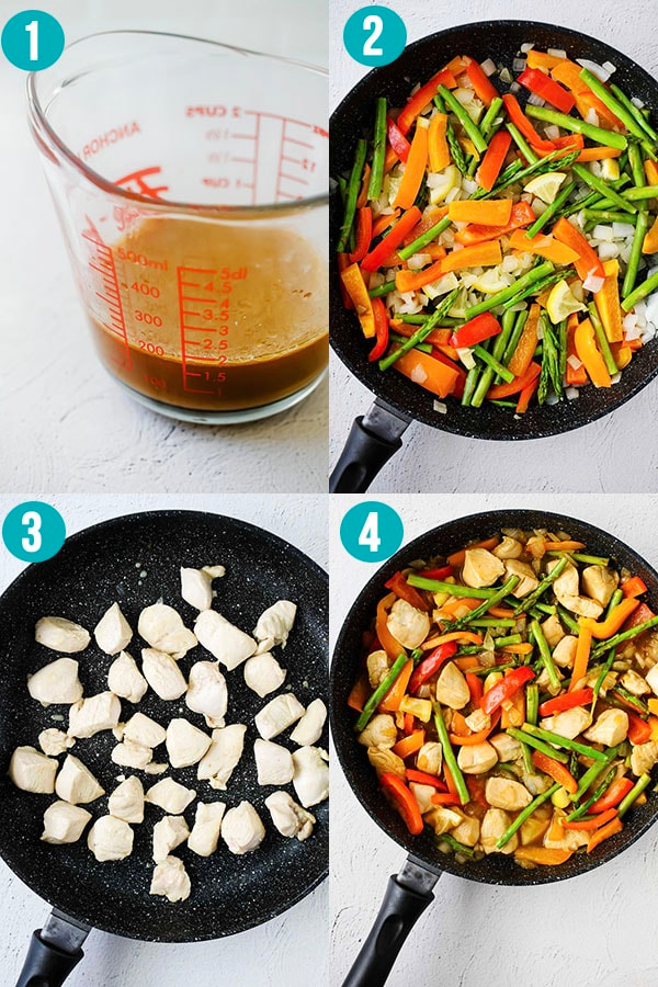 collage image showing how to cook lemon sesame stir fry