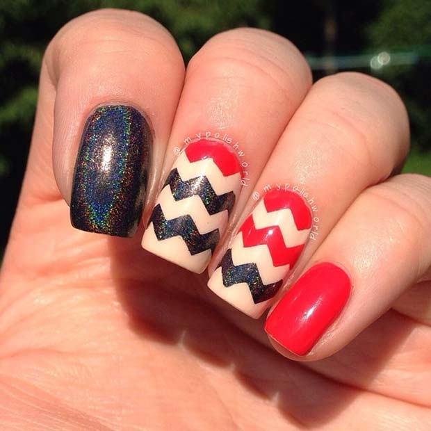 Red and Black Chevron Nail Art