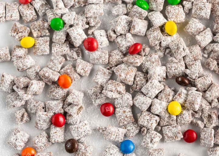 puppy chow on wax paper