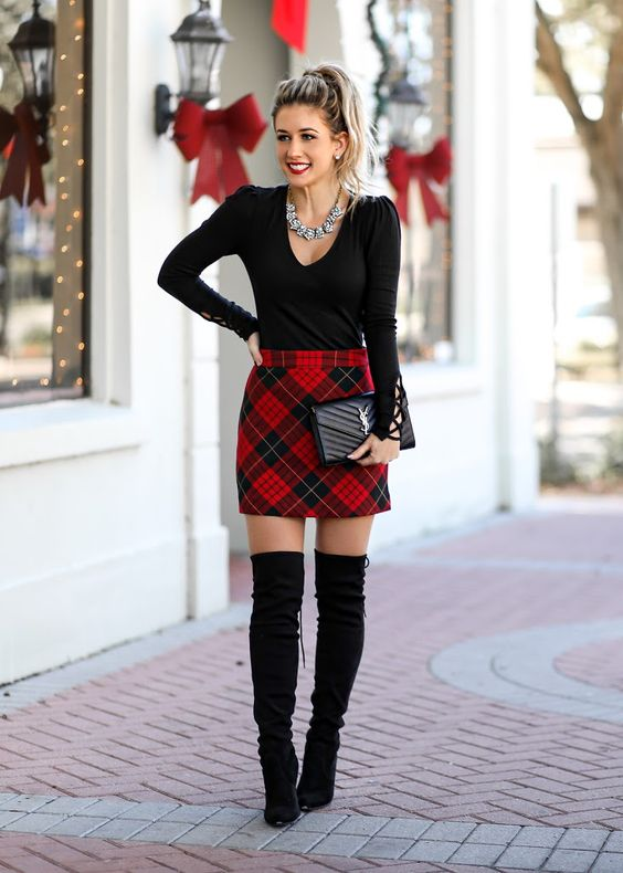 Sweet Christmas outfit with a skirt and knee-high boots