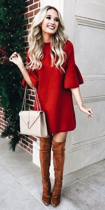 Casual and cute Christmas outfits with a dress and knee-high boots