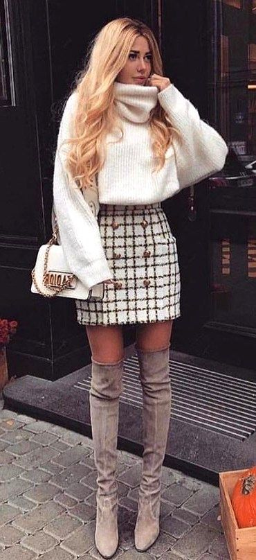 Cute autumn outfits with boots above the knee