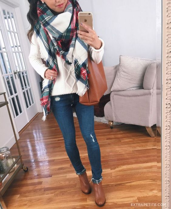 Casual autumn look with a checked scarf