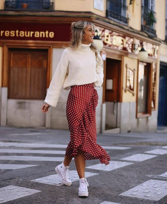 Casual and cute Christmas outfits with a polka dot skirt and white sweater