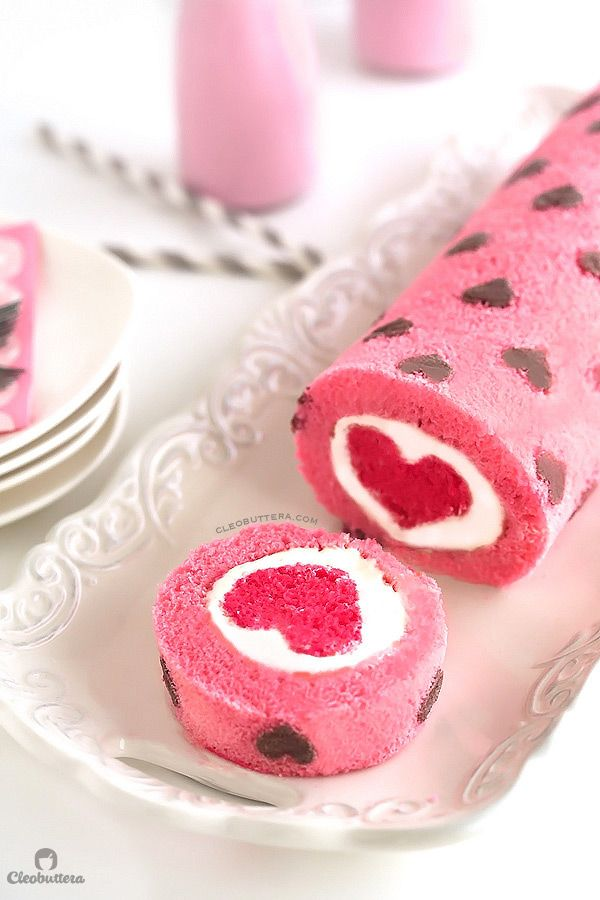 Easy Valentine's Day Desserts: Pink Heart Cake Roll